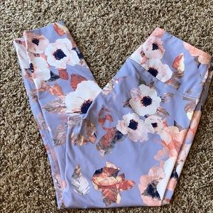 Flower silky yoga pants